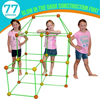 Funphix 77 Pc Fort Building Kit with Glow in The Dark Sticks - Fun Construction Toy for Age 5+ Creative Play - Encourages ...