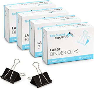 Blue Summit Supplies Large Binder Clips, 4 Pack of 2 Inch Black Binder Clips, 12 Quantity Per Box, 51mm Universal Binder Clips, 48 Pack