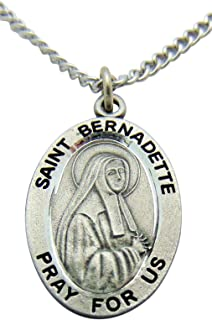 Westman Works St Bernadette Solid Pewter Saint Medal 3/4 Inch with Stainless Steel Chain