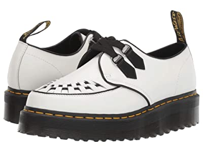 Dr. Martens Sidney Quad Creepers (White/Black Polished Smooth) Shoes