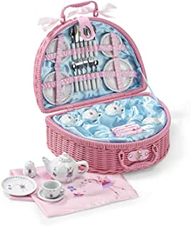 Lucy Locket Fairy Tale Picnic Basket and Tea Set for Children (32 Piece China Tea Set) Pink