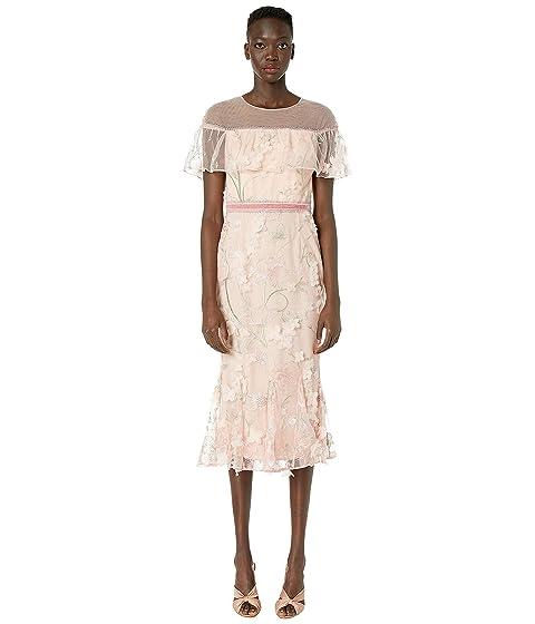 Marchesa Notte Off the Shoulder Embroidered Cocktail Dress