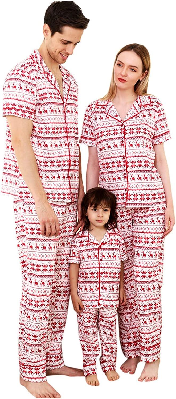 Matching Family Christmas Pajamas Set Print Short Sleeve Pants 2 Piece Loungewear Sleepwear Household Casual Outfit