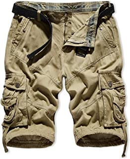 Men's Outdoor Cargo Shorts Relaxed Loose Fit Multi-Pockets Camo Cargo Short with Belt