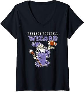 Womens Funny Fantasy Football Wizard Party League Champion V-Neck T-Shirt