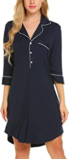 Ekouaer Womens Sleepshirt Button Down Nightgown Sleepwear Summer Slip Night Dress S-XXL