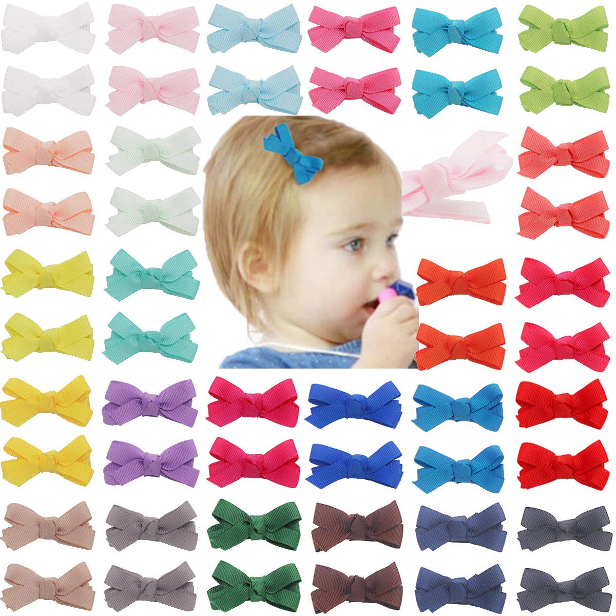 Qearl 50Pcs Super sale period limited Rapid rise 2 Inch Tiny Grosgrain Lined Ribbon Fully W Hair Bows