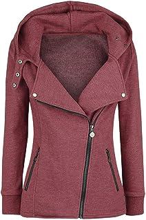 Women Lightweight Zip-Up Hoodie Jacket,Memela Ladies Fashion Plus Size Solid Color Hooded...