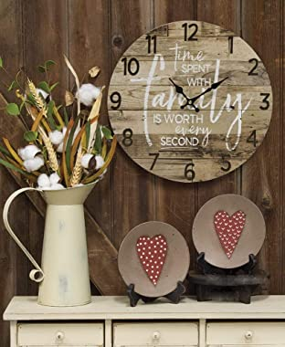 Round Farmhouse Wall Clock - 13 Inches – Decorative Wood Style Quartz Battery Operated Rustic Home Décor Vintage Decoration R