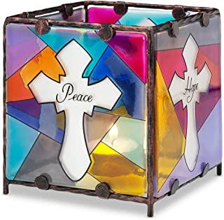 Shine on Me by Pavilion Glass Candle Holder, Peace Hope Faith Love, 4 by 4-Inch