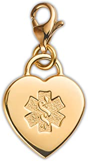Divoti Deep Custom Laser Engraved Adorable Heart PVD 316L Medical Alert Charm w/Lobster Clasp