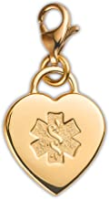 Divoti Deep Custom Laser Engraved Adorable Heart PVD 316L Medical Alert Charm w/Lobster Clasp