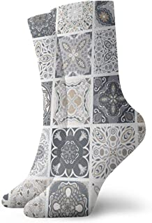 Traditional Ornate Portuguese Decorative Tiles Azulejos Abstract Classics Compression Socks Sport Athletic 11.8Inch(30Cm) Long Crew Socks For Men Women