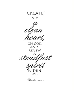 Create in me a clean heart, oh God and renew a steadfast spirit within me Vinyl wall art Inspirational quotes and saying home decor decal sticker steamss