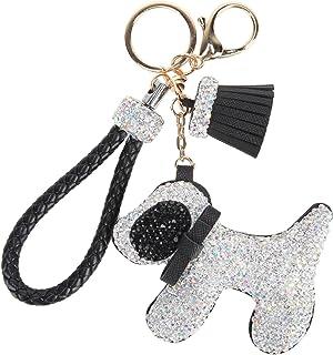Fawziya Rhinestone Tassel Keychain With Dogs