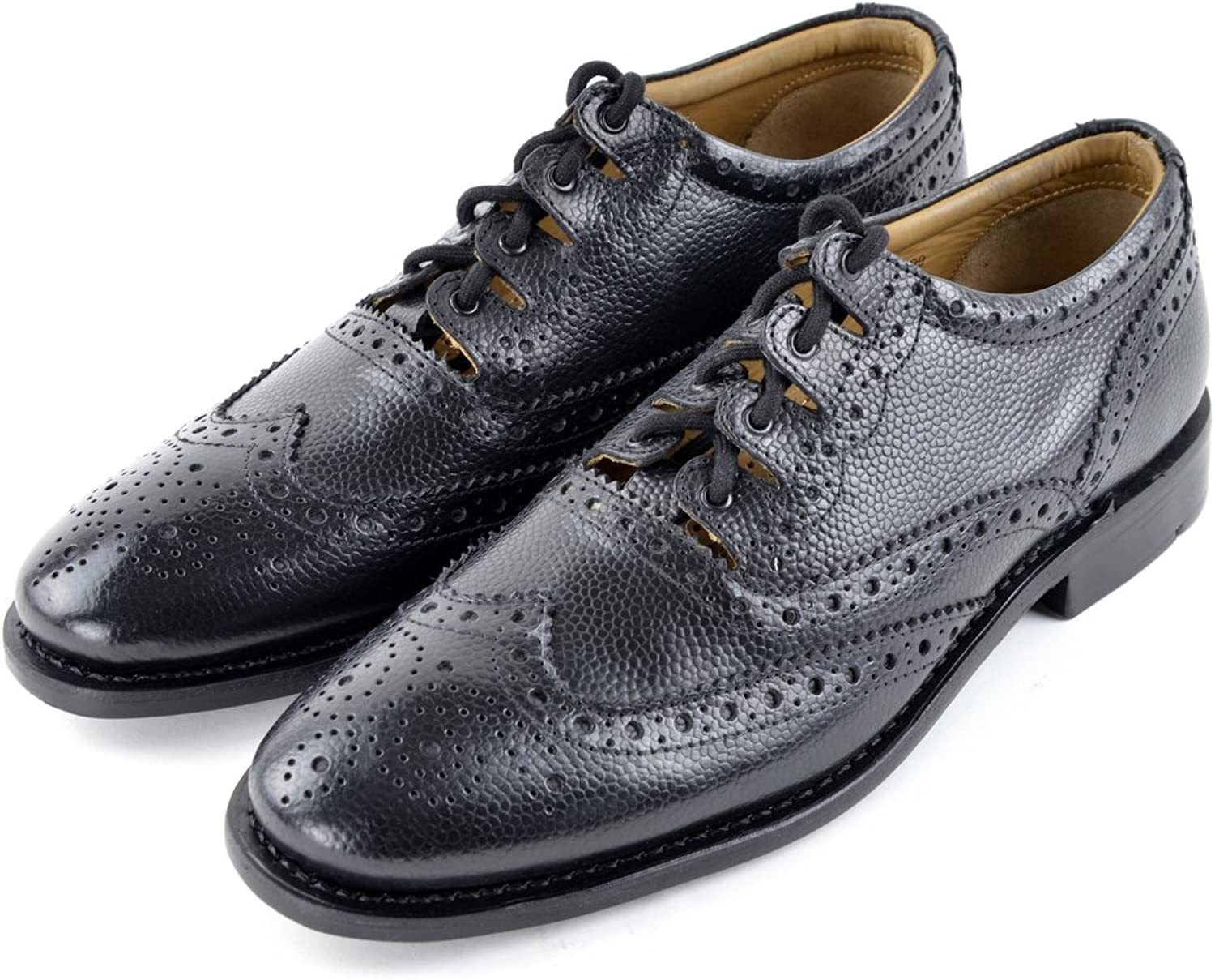 Kilt Society Mens Grained Leather Scottish Ghillie Brogues