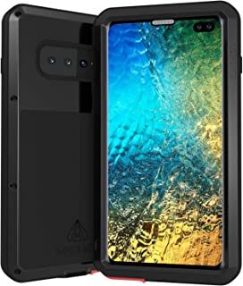 LOVE MEI Phone Case for Galaxy S10 Plus/S10+ Shockproof Sturdy Metallic Armor Built in with Tempered Glass Screen Protector, Black