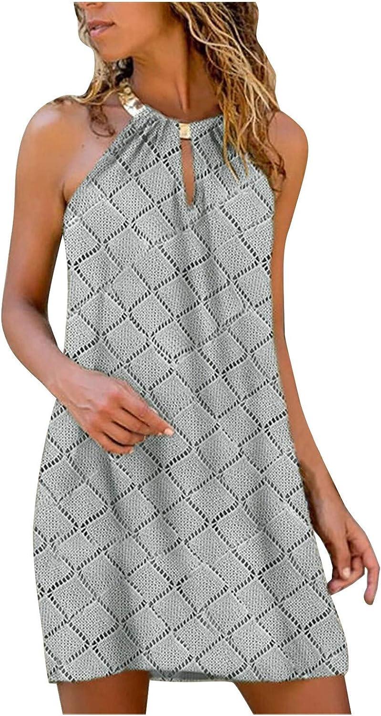 Oiumov Summer Dresses for Women, Women's Sleeveless Metal Halter Neck Thin Dress Casual Beach Sundress Loose Boho Dress