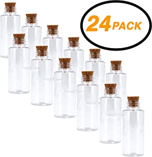 Srenta Plastic Sand Art Bottles with Cork Stoppers Arts and Crafts Mini Jars, 2 Oz and Pack of 24
