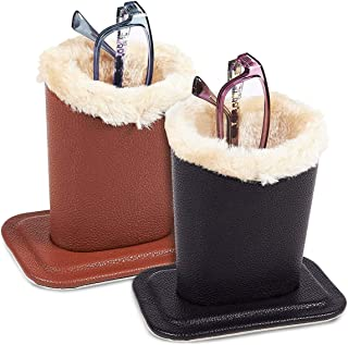 Pack of 2 Eyeglass Holders - Eyeglass Stands with Soft Plush Lining - Eyeglass Holder Stands, 4.5 x 4.7 x 3.2 Inches, Black, Brown