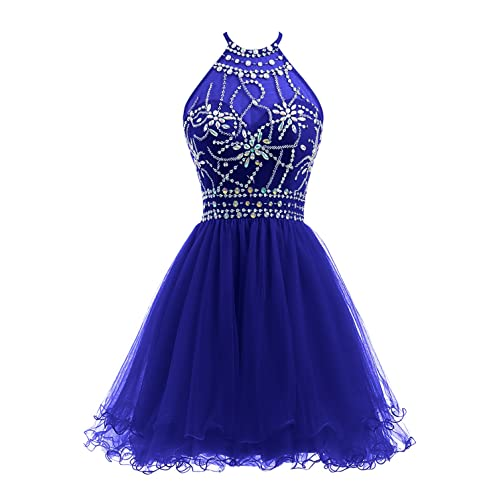 90c6d9e5fc5 Ellames Women s Beaded Halter Homecoming Dress Short Tulle Prom Dress