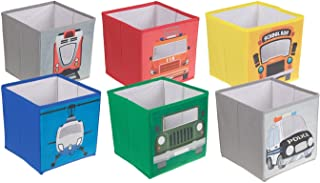 6 Transportation Themed Organizers by Clever Creations - Collapsible, Durable, and Versatile Fabric Storage Cubes