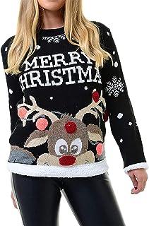 Rimi Hanger Women Long Sleeve Knitted Pom Pom Jumper Adults Novelty Christmas Party Wear Top M/2XL