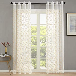 Embroidered Sheer Curtains Living Room Diamond Embroidery Curtain Sheers Bedroom 63 inch Length Trellis Gauzy Curtain Panels Lattice Geometry Window Treatment Grommet Top Drapes 2 Panels Taupe