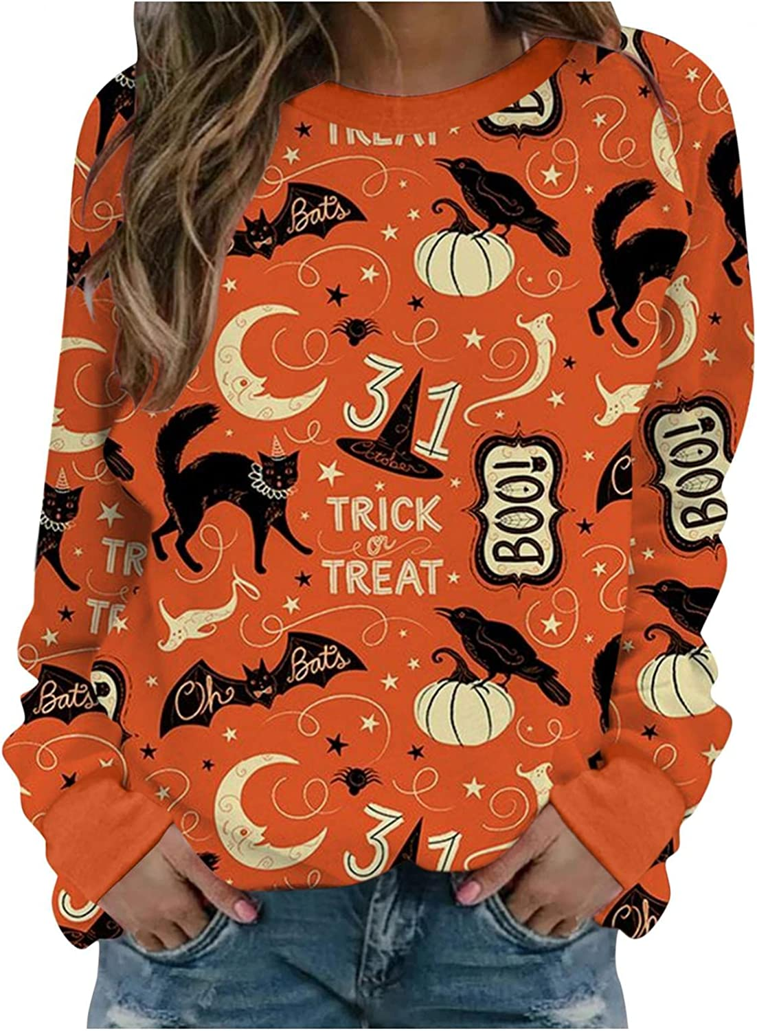Haheyrte Crewneck Sweatshirts Womens Pumpkin Face Ghost Printed Pullover Tops Casual Long Sleeve O Neck Shirts Sweaters