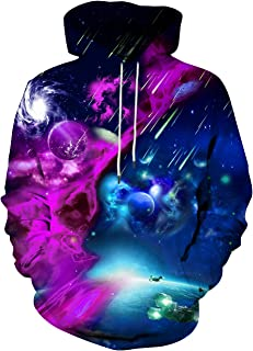 Hgvoetty Unisex 3D Print Hoodies Graphic Space Pullover Hooded Sweatshirts for Men Women