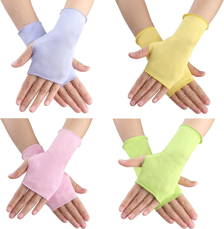 4 Pairs Sunblock Fingerless Gloves Unisex UV Protection Non Slip Half Finger Summer Outdoor Gloves for Cycling Riding