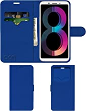 Acm Leather Window Flip Wallet Front & Back Case Compatible with Oppo A83 (2018 Edition) Mobile Cover Blue
