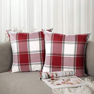 Buffalo Check Throw Pillow Covers 18x18- Cotton Line Red White Plaid Cushion Cover Holiday Decorative Throw Pillows for Couch, Bed, Sofa, Pack of 2 ( 18 x 18 Inch)