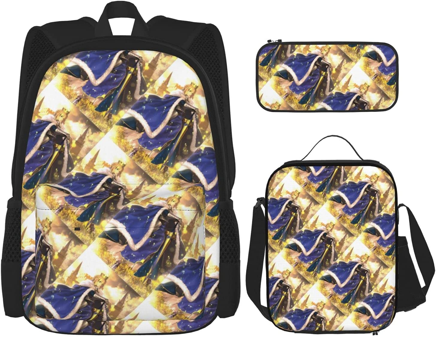 Limited price Fate Zero Saber Anime Backpack 3 + Piece Set lowest price Ca Pencil