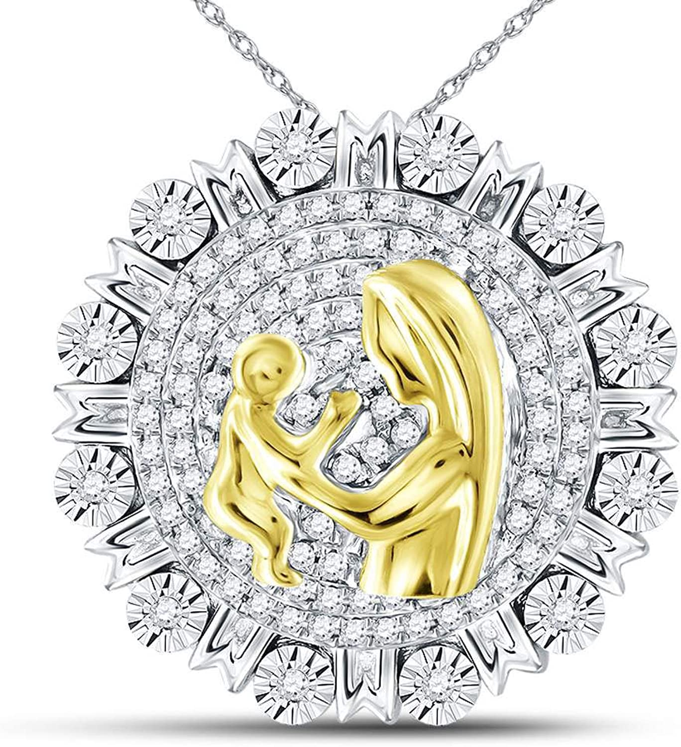 Sterling Silver Womens Round Diamond Yellowtone Mom Mother Embrace Circle Medallion Pendant 1 4 Cttw