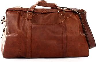 LECONI kleine Reisetasche Ledertasche Handgepäck Reise Weekender Fitnesstasche Damen und Herren Retro-Look Leder braun 45x25x20cm LE2009