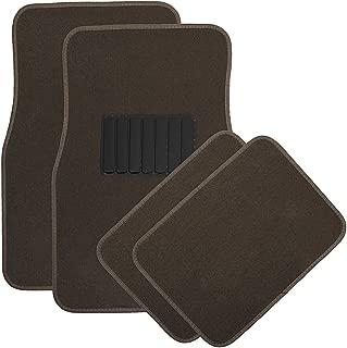 OxGord 4pc Full Set Carpet Floor Mats, Universal Fit Mat for Car, SUV, Van Trucks - Front Rear, Driver Passenger Seat Brown