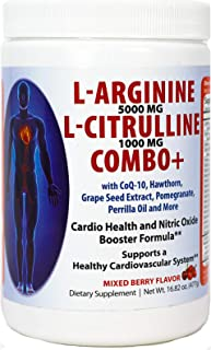 L-arginine 5000 mg and L-citrulline 1000 mg Combo, Nitric Oxide Supplement Complex, Cardio Heart Health Powder, Mixed Berr...