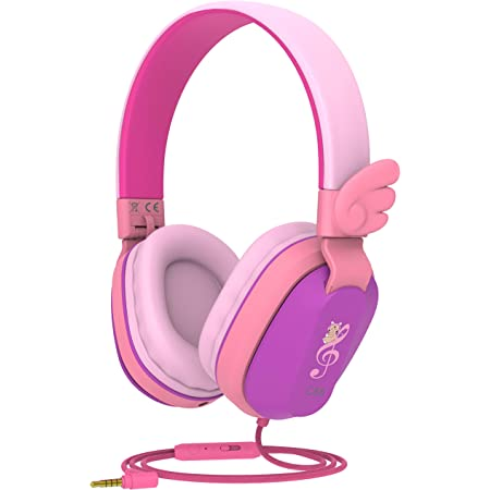 Kids Headphones, Riwbox CS6 Lightweight Foldable Stereo Headphones Over Ear Corded Headset Sharing Function with Mic and Volume Control Compatible for iPad/iPhone/PC/Kindle/Tablet (Purple&Pink)