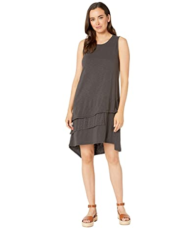 Dylan by True Grit Luxe Cotton 3 Tiers Tank Dress with Lace (Carbon) Women