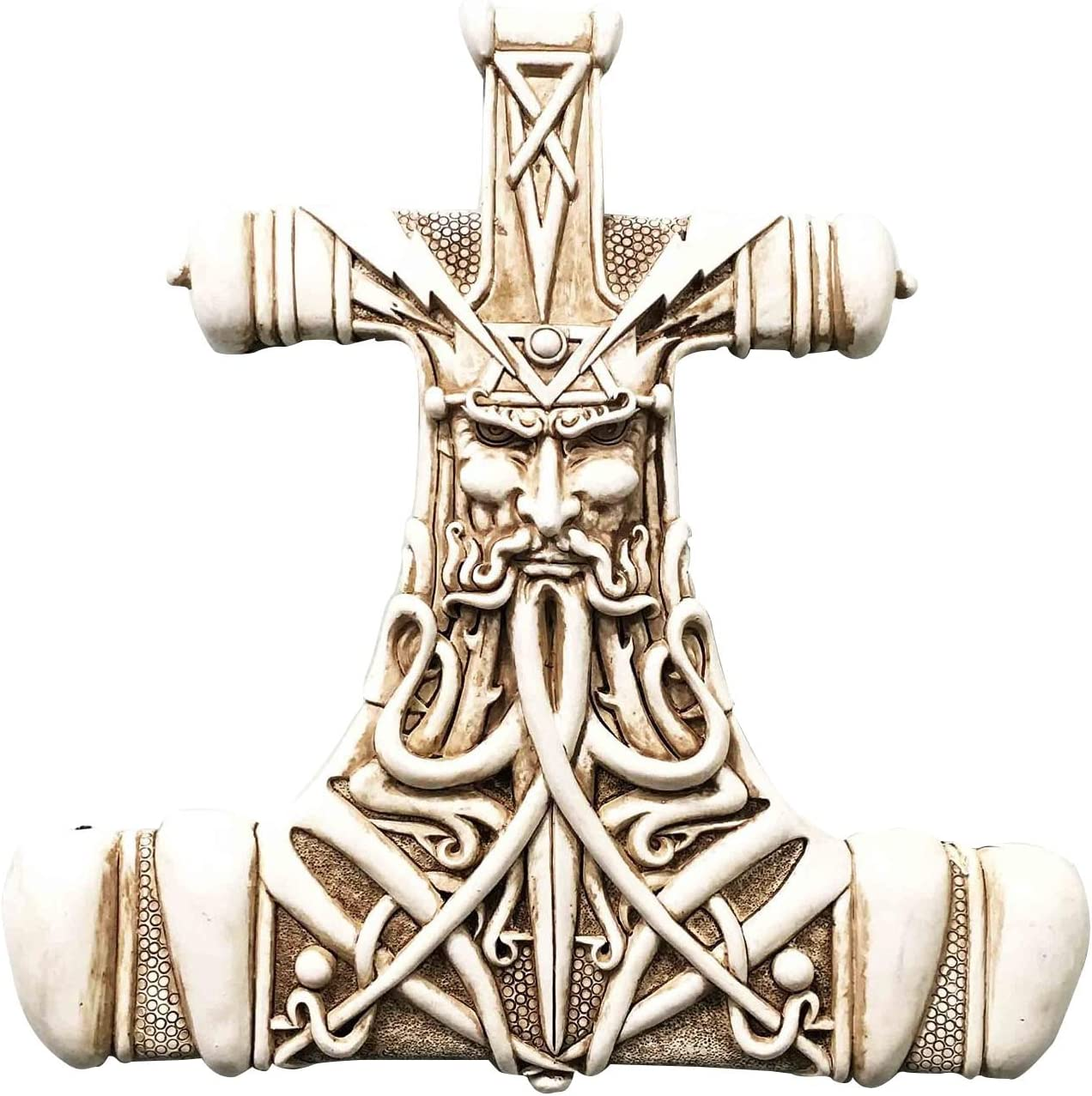 Viking God Thor Bone Hammer Mjolnir Thunder Wall Plaque Home Dec