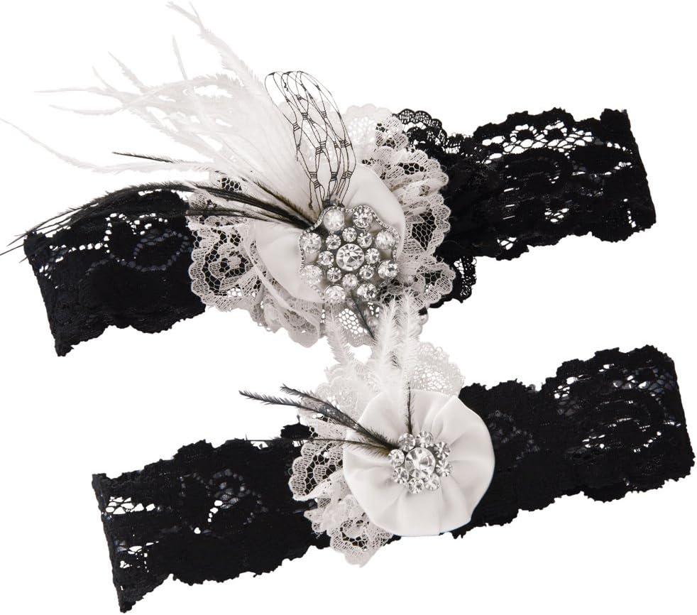 Ivy Lane Design online shopping Vintage Black Lace Pearl Free Shipping New Garter Wedding S Bridal