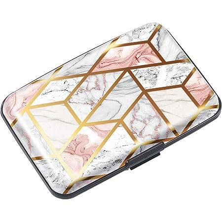 Mini Credit Card Holder for Women,RFID Blocking Slim Hard Card Case ID Case Travel Wallet, Gold Pink Marble, S, Travel Wallet