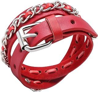 إليانر جلد طبيعي الكفة سوار الشرير المعادن أساور أساور قابل للتعديل حزام التفاف سوار مجوهرات يدوية للرجال النساء