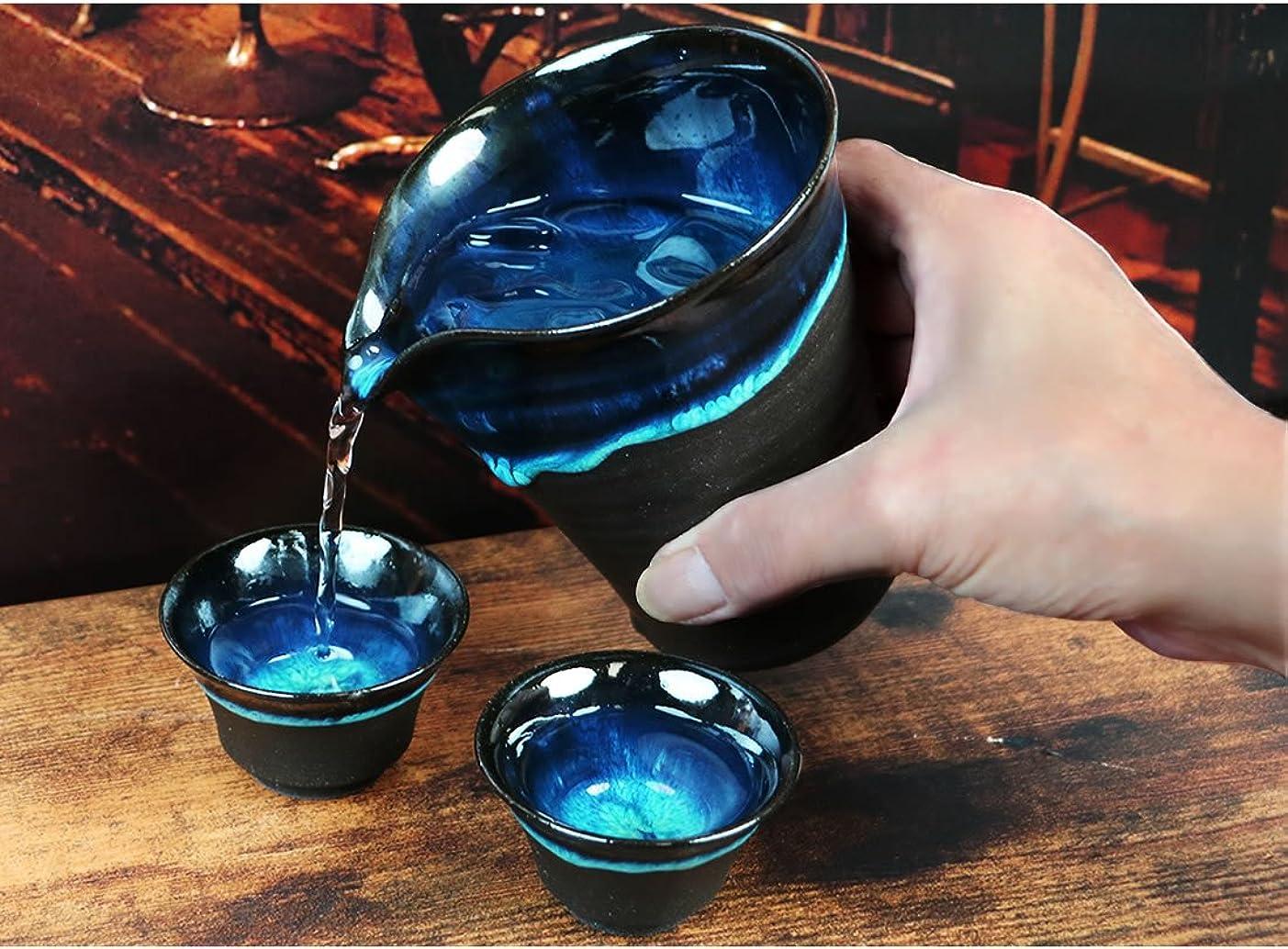 ギャロップ誘惑外出信楽焼 湖鏡(酒器セット) ワンランク上の贅沢 酒器 セット ぐい呑み 片口 熱燗 高級品 おしゃれ 信楽焼き 陶器 ko-syuki