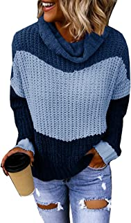 Cicy Bell Women's Color Block Sweaters Cowl Neck Long Sleeve Chunky Knit Casual Pullover Tops