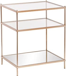 Knox Side Table - Metallic Gold Metal Frame w/ Glass Tops - Glam Style Décor