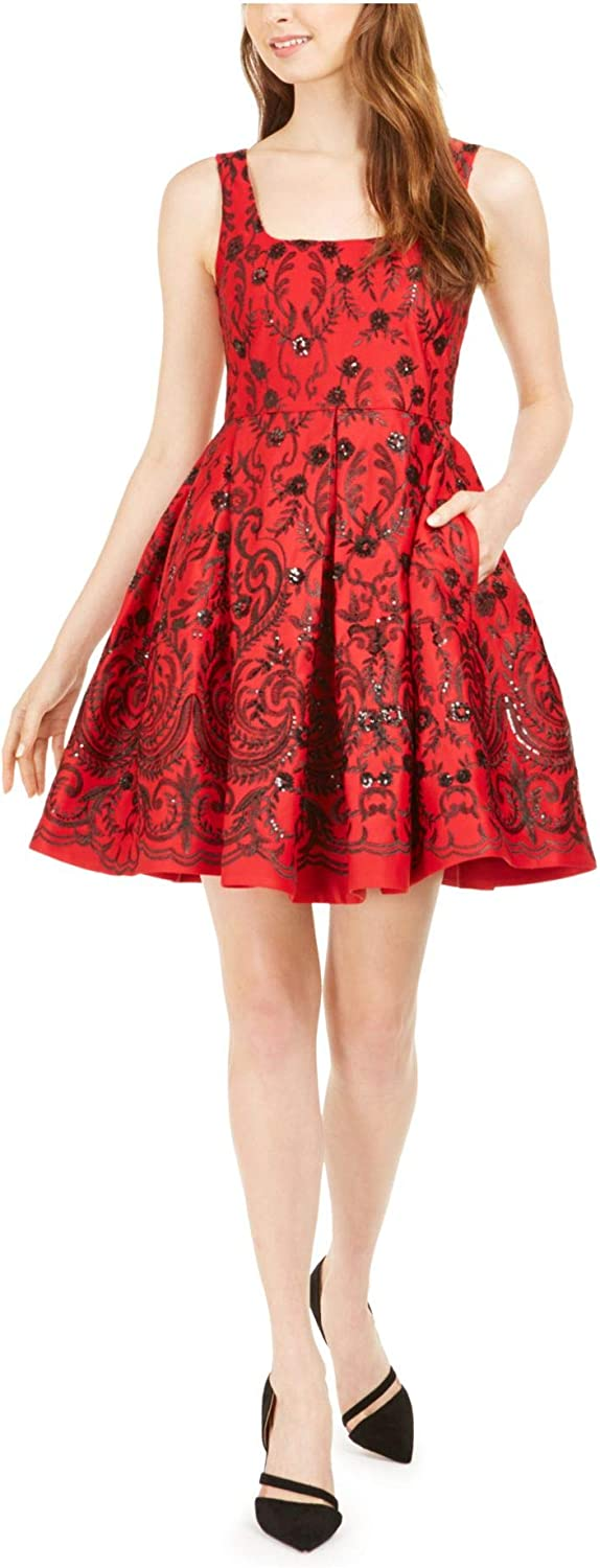 Taylor Dresses Women's Sleeveless Scoop Neck Embroidered Sequin Dress