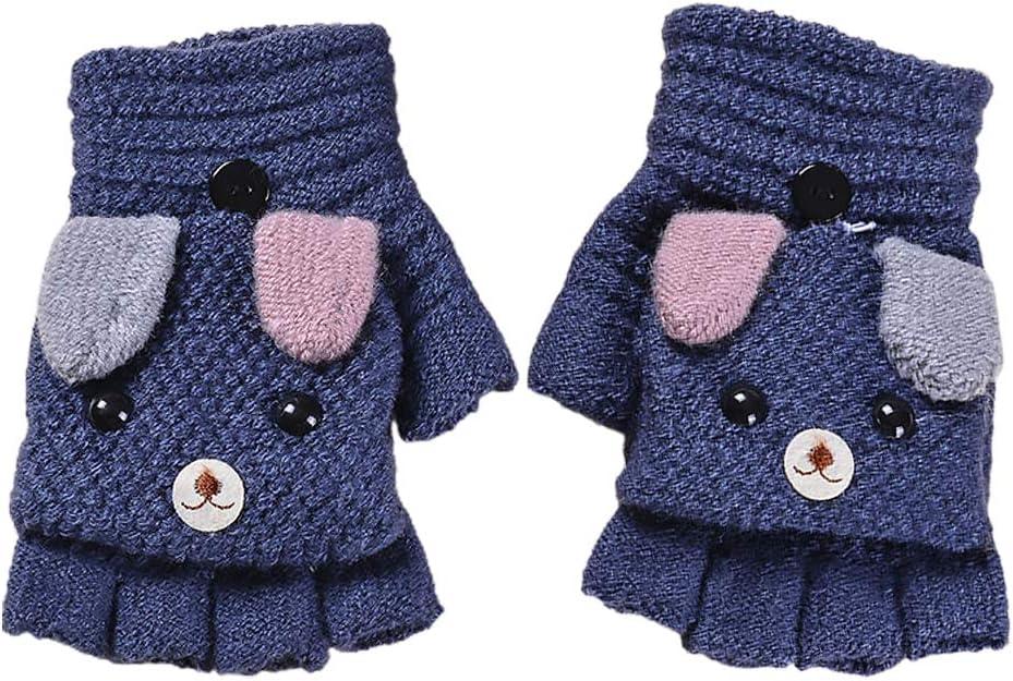 ABOOFAN 1 Pair Knitted Half- Finger Gloves Cartoon Puppy Clamshell Mitten Warm Mitts Halloween Decor Prop
