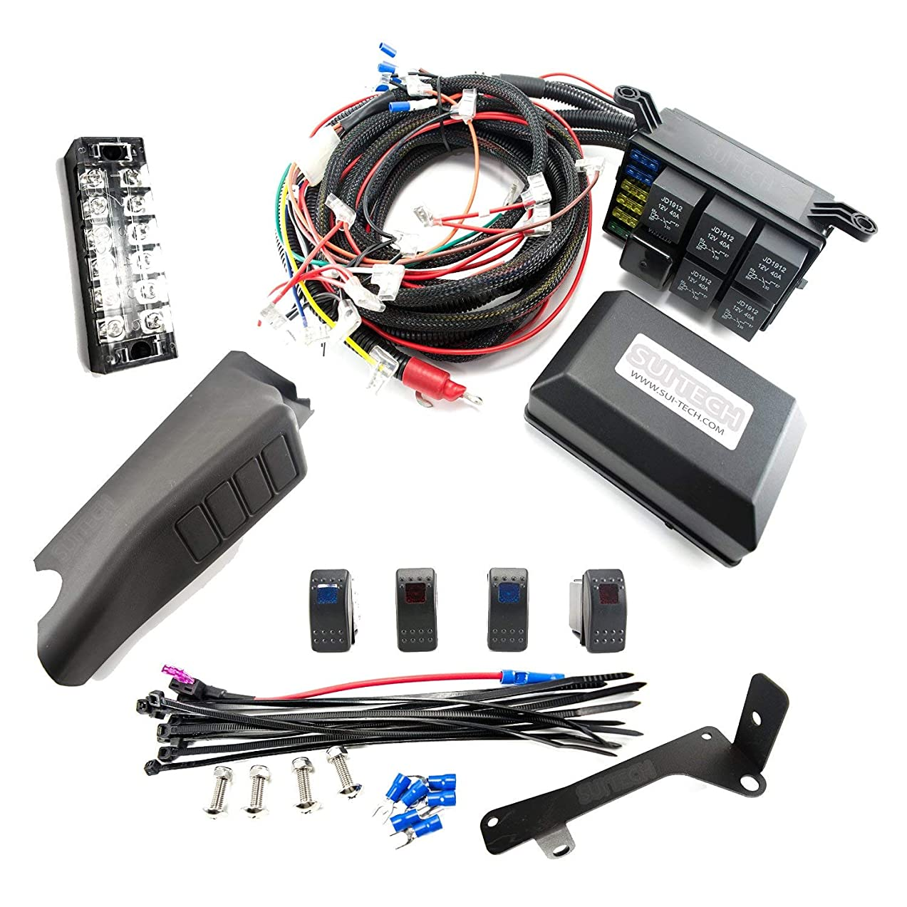 Relay Control Box for Jeep Wrangler JK - Electronic 6 Relay System Module - Wiring Harness Kit With FREE 4 Rocker Switch Mount - Power up to 6 Accessories and LED Off Road Light Bars (JK Version)